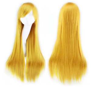 Women Girls Long Straight Hair Wig Anime Cosplay Party 80cm Wigs yellow