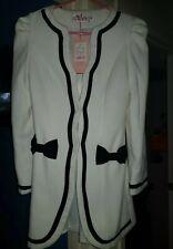 Womans Cream And Black Trim Jacket Coat.