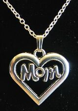 """Heart Pendant Necklace Love Mother Nice! 18"""" 925 Sterling Silver Chain Mom"""