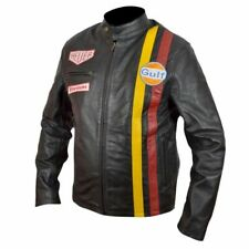 Mens Steve McQueen Le Mans Grand Gulf Racing Style Stripes Black Leather Jacket