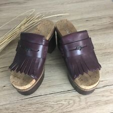 Coach leather brownish burgundy woman mule clog shoes