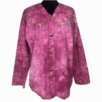 Vintage 80s Button Blouse Top Western Boho Rodeo Shirt Pink Tie Dye Studded OS