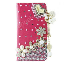 Luxury Bling Diamond Jewelled Leather Flip Wallet Card Case Cover for Cell Phone