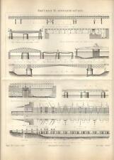 Stampa antica PONTI del MONDO Tav. 3 Ponti mobili 1890 Old antique print