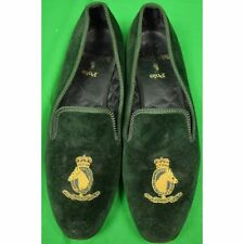 Polo Ralph Lauren Bottle Green Velvet Slippers w/ Embroidered Horse Head Sz 9