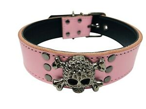 "Dog Puppy Collar  1.5"" wide  Skull Design  Heavy Duty  Pink  Small Medium Large"