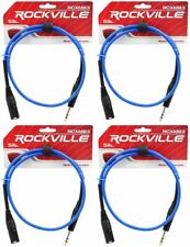 4 Rockville Rcxmb3-Bl Blue 3' Male Rean Xlr to 1/4'' Trs Balanced Cables