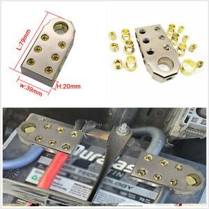 2x Car SAE Top Positive Negative Post (6) 1/0 & 4 Gauge Battery Terminal Golden