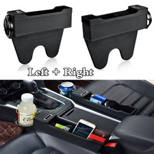 2Pcs Black Car Interior Seat Catcher Gap Storage Box Cup Holder Coin Collector