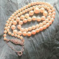 18ct White Gold Diamond Clasp Genuine Pearl Necklace Safety Chain Art Deco