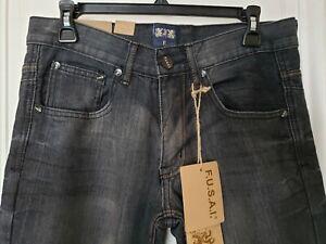 RARE New FUSAI 1997 Mens Jeans - Comfort Slim Straight - 30x30 -Black Dirty Wash