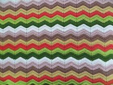 Vintage Chevron Afghan Throw Green Rust Tan Gold Zigzag 60 x 102