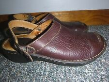 Born Mules Shoes Clogs Slip On Adjustable Buckle Strap Brown Leather Women's 9M