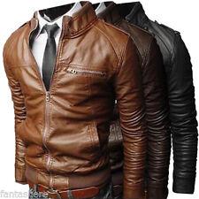 hombre chaqueta de Motero PU Sintético cuero Moto Acolchado Negro Abrigo Nuevo