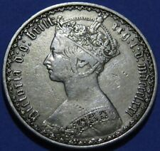 1871 GREAT BRITIAN Sterling Silver Florin Coin VF Cond. 'Gothic' Queen Victoria.