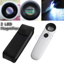 40x LED Light Magnifier Magnifying Glass Jeweler Loupe Watch Loop Repair White