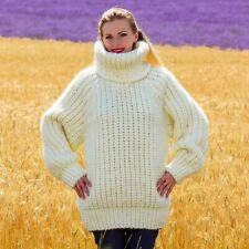 Thick ivory wool sweater turtleneck warm hand knitted pullover SUPERTANYA