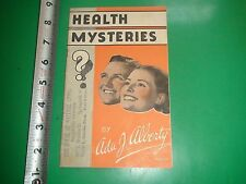 JC714 Vtg Booklet Health Mysteries Ad The House of Natural Living Springfield IL