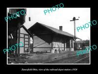 OLD LARGE HISTORIC PHOTO OF ZANESFIELD OHIO, THE RAILROAD DEPOT STATION c1920