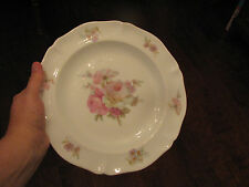 """ANCIENNE MANUFACTURE ROYALE LIMOGES 10"""" Dinner Plate Pink Green Roses, FRANCE"""