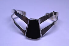 Onyx Cuff Bracelet 41.4 Grams Vintage Handcrafted Mexican Sterling Silver