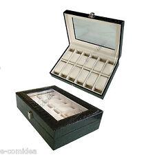 BOX CUSTODIA VETRINA 12 POSTI PORTAOROLOGI IN ECOPELLE COCCODRILLO NERO