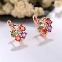 Women 18K Rose Gold Plated Multi-color Zircon Ear Clip Earrings Fashion Jewelry