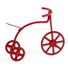 Miniatura para Casa de Muñecas Niños Pequeña Roja Metal Triciclo