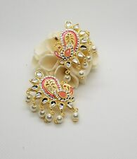 Indo Western Peacock Earrings gold plating and peach colors adorned w/pearls