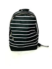 Backpack school book bag black white solid stripe fashion travel tote women girl