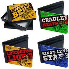 More details for personalised speedway wallet motorbike bi fold coin card mens dad racing gift