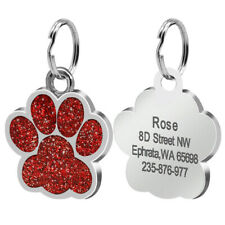 Personalized Dog Tags Engraved Dog Cat ID Name Collar Tag Pendant Glitter Paw