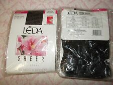 Leda, Jet Black Ultra Sheer Sandalfoot Pantyhose:10 pks, 3 prs ea.  30 pair