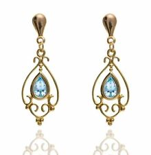 Butterfly Fastening Pear Stone Yellow Gold Fine Earrings