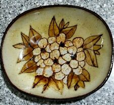 """CHELSEA POTTERY ENGLAND~GLAZED FLOWER HANGING WALL ART DISH~SIGNED PLATE~5 5/8"""""""