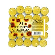 25 x Citronella Tealight Candles Mosquito Fly Insect Repeller Fragranced NEW