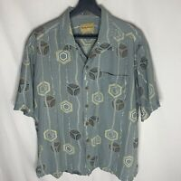 Tommy Bahama 100% Silk L Hawaiian Aloha Shirt Tan Gray/Green Geometric Design