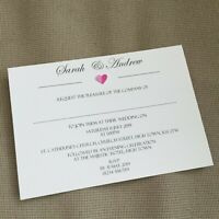 50 Personalised Wedding Evening Invitations Invites Classic Vintage Rustic Heart