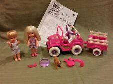"""Mattel Barbie Kelly & Tommy Power Wheels """"Jeep"""" Playset 1998 #18717 All in Mint"""