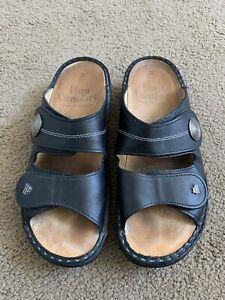 Finn Comfort Jamaica Slide Sandals Sz 37 D Black Leather Double Strap Shoes 6.5