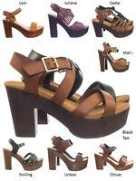 Ferry3 70 80 Retro Sculpted Lightweight Wooden Block Heel Platform Clog Sandal