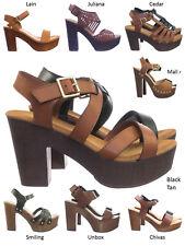 daa977fa516 Ferry3 70 80 Retro Sculpted Lightweight Wooden Block Heel Platform Clog  Sandal
