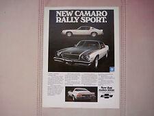 1975 CHEVROLET CAMARO RALLY SPORT - ORIGINAL PRINT CAR AD - EXCELLENT COND