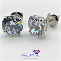 2 Ct Brilliant Round Basket Screw Back Stud Earrings Real 14K Solid White Gold