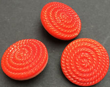 6 Interesting 1.8cm Vintage Red Glass Coiled Rope Buttons