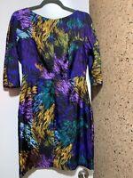 Milly Delaney Galaxy Print Multicolor Sheath Silk 3/4 Dolmain Sleeve Dress Sz 6