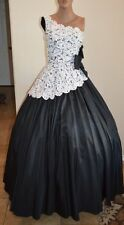 STUNNING Vintage Mike Benet Formal One Shoulder Lace Evening Gown Dress - S
