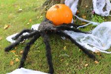 LARGE BLACK SPIDER POSEABLE HALLOWEEN DECORATION 75CM OUTDOOR INDOOR PROP