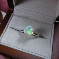 Natural Ethiopian Opal Cut Gemstone 925 Sterling Silver Gift Womens Ring Jewelry