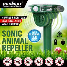 Solar Ultrasonic Animal Repellent Repeller LED PIR Motion Sensor Bird Cat Dog
